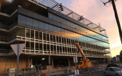 The curtain wall on Port Adelaide Office is coming along nicely.
