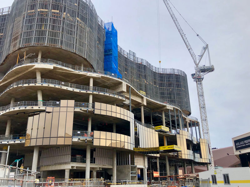 Facade taking shape on the West.